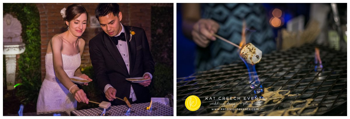 late night dessert | s'mores station | unique wedding food | Kat Creech Events