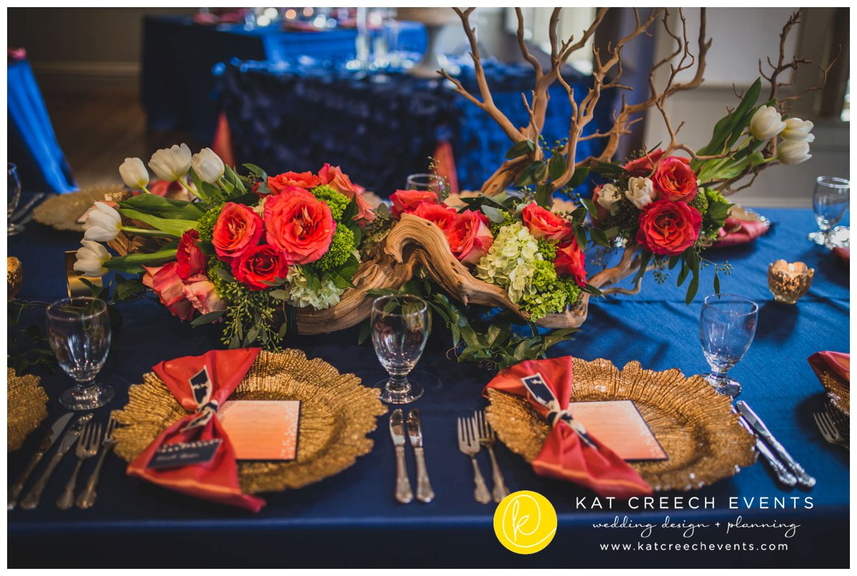 manzanita centerpiece | coral and navy wedding | ivory tulips | wedding stylist | Kat Creech Events