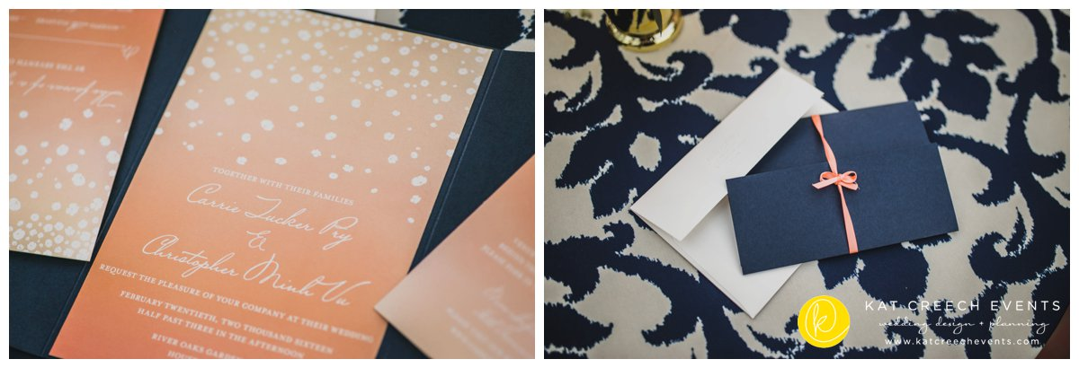 coral and navy stationary | wedding stationary | wedding brand | Kat Creech Events