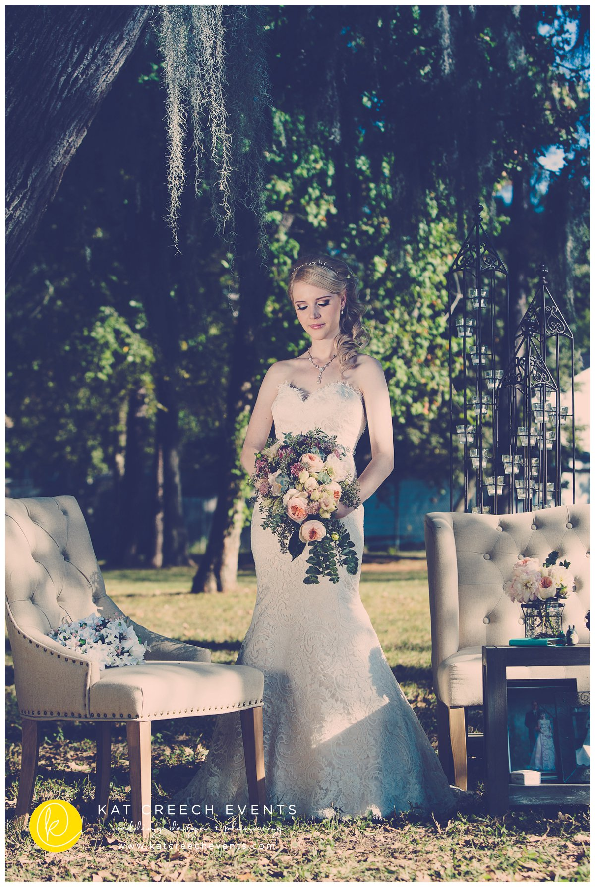 Bridal Portrait | tufted lounge | garden