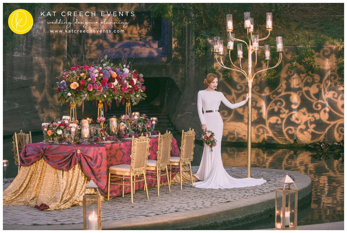 candelabra | gold wedding | gobo lights | romance on the bayou | lanterns
