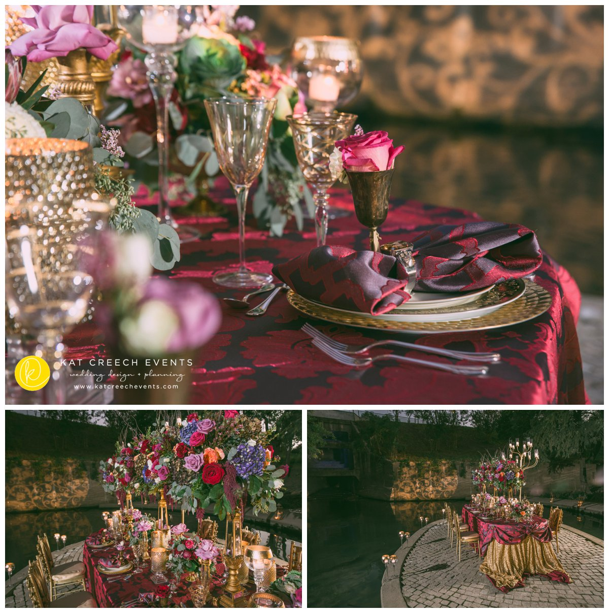 gold stemware |place setting |gobo lights |romance on the bayou | floral centerpieces |kat creech events | wedding stylist