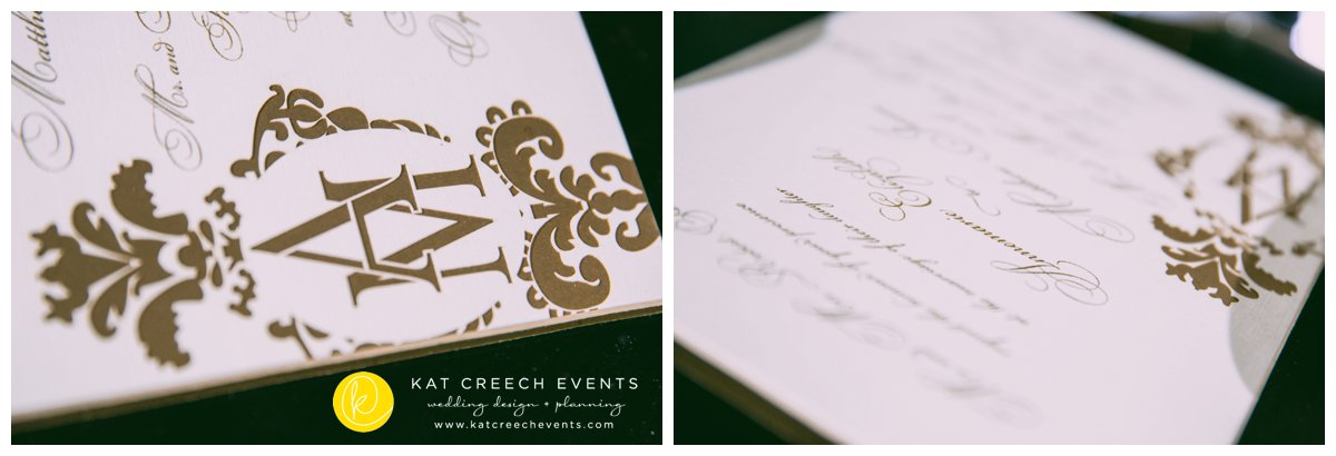 wedding invitation | die cut invitation | kat creech events | ivory and gold wedding