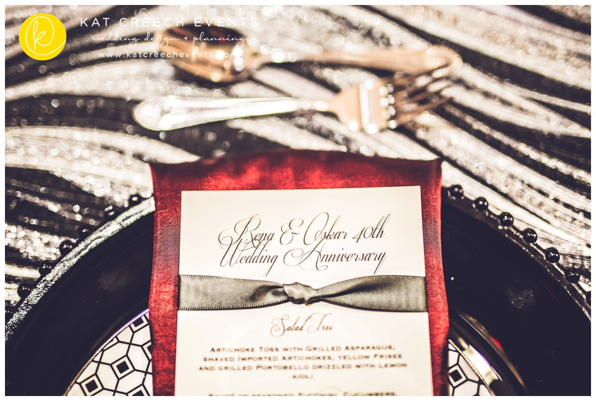 black and silver linens | black glass beaded charger | modern menu card