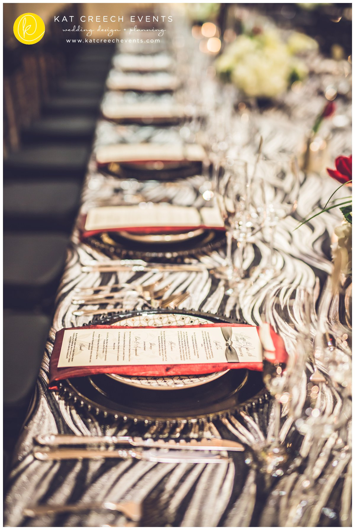 black and silver linens | black glass beaded charger | modern menu card | Kat Creech Events