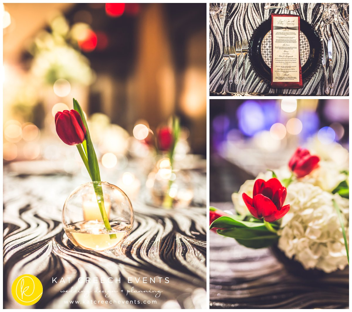 modern centerpieces | red tulips | black and silver linens | Kat Creech Events