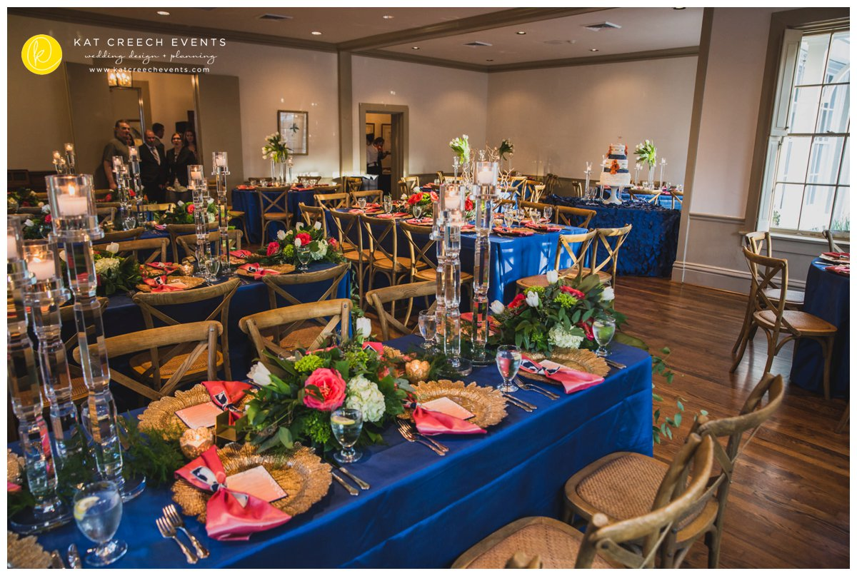 crystal candelabras | modern garden wedding | navy and coral wedding | table flower garland | Kat Creech Events