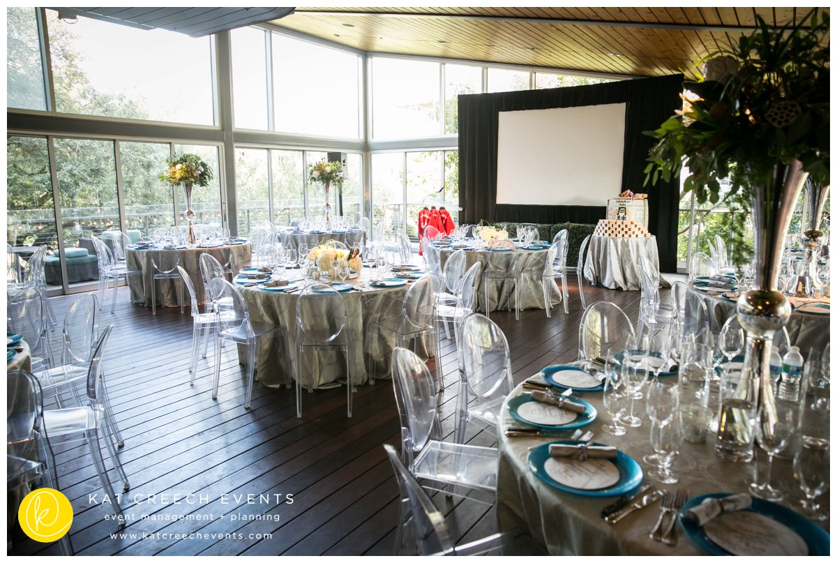 ghost chairs | corporate event |tall centerpieces |kat creech events | event planner |client appreciation
