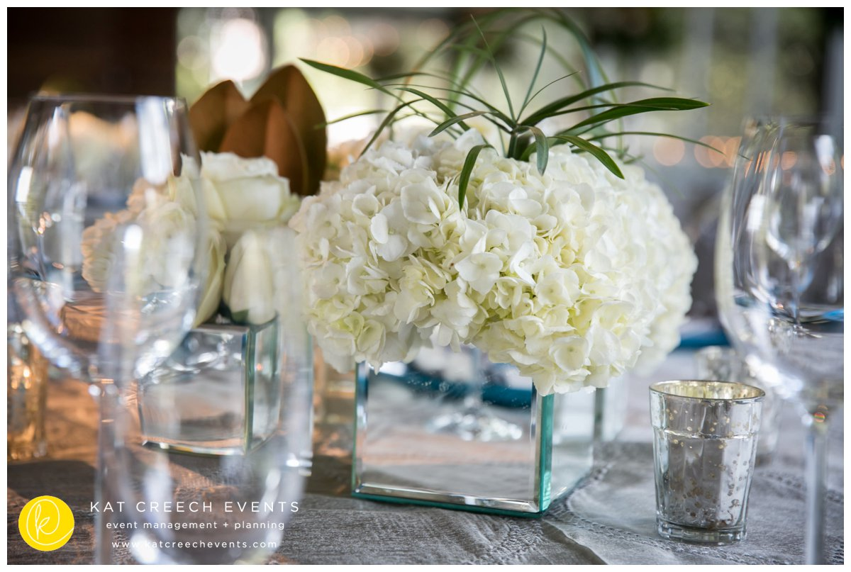 mirror boxes | hydrangeas | mercury votives | kat creech events | event planner