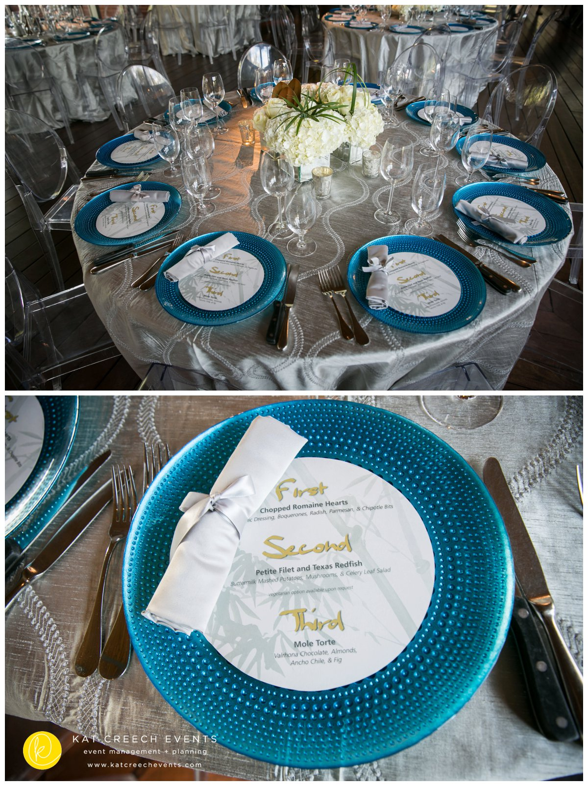 silver linen |blue chargers |ghost chairs |menu |kat creech events | event planner