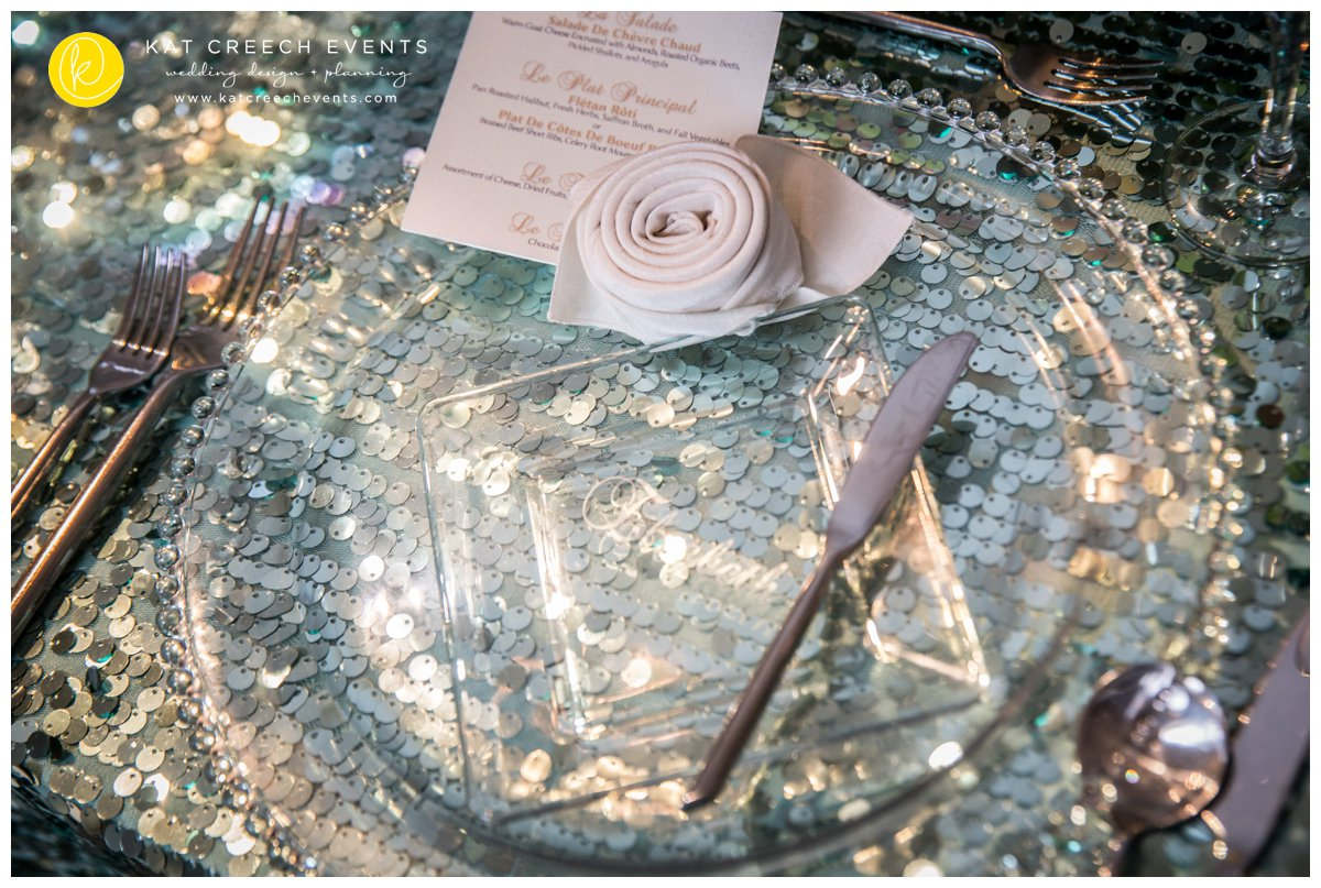 glass beaded charger | place card | rose napkin | menu card
