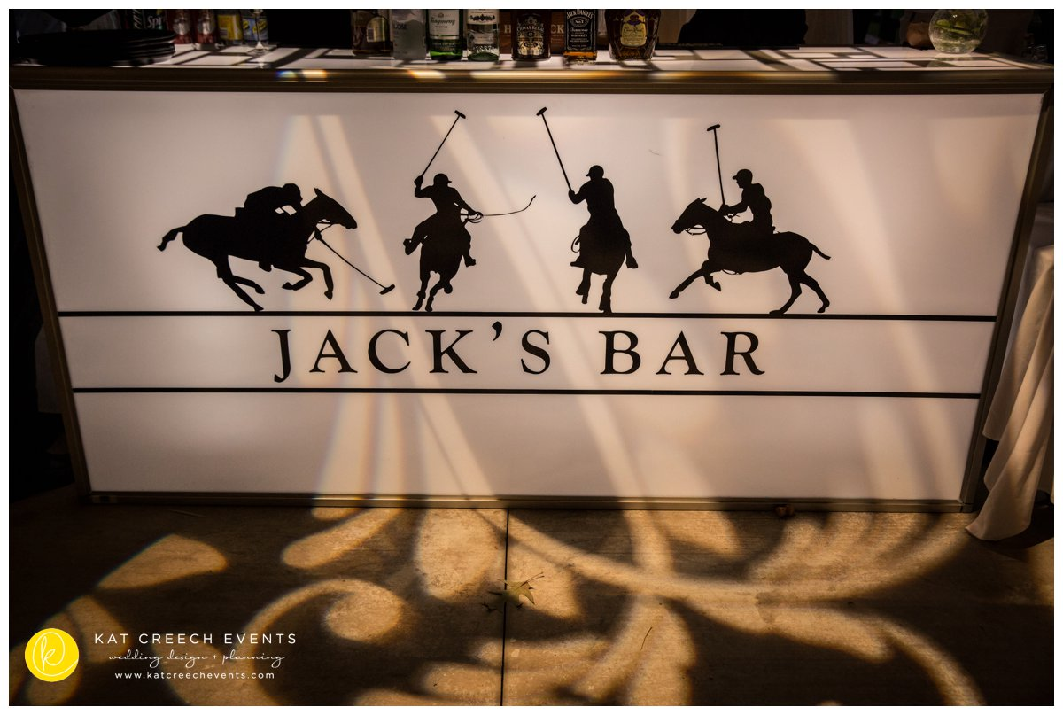 bar front | wedding bar | custom decal | polo club wedding