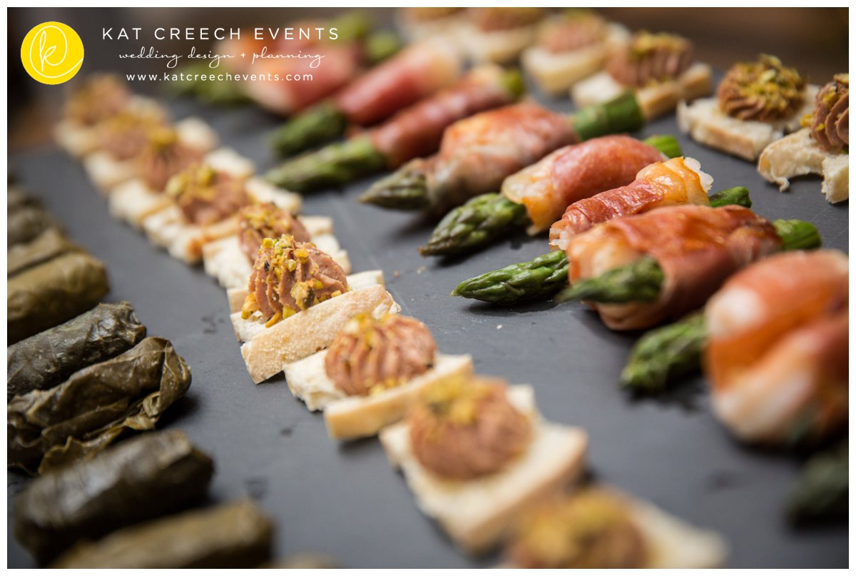 passed horderves | appetizers | bacon wrapped asparagus | grape leaves