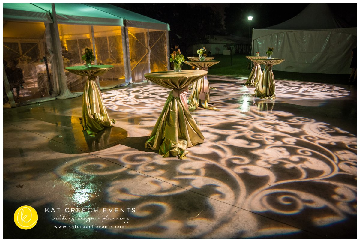 gobo lighting | wedding lighting | cocktail tables | polo club wedding