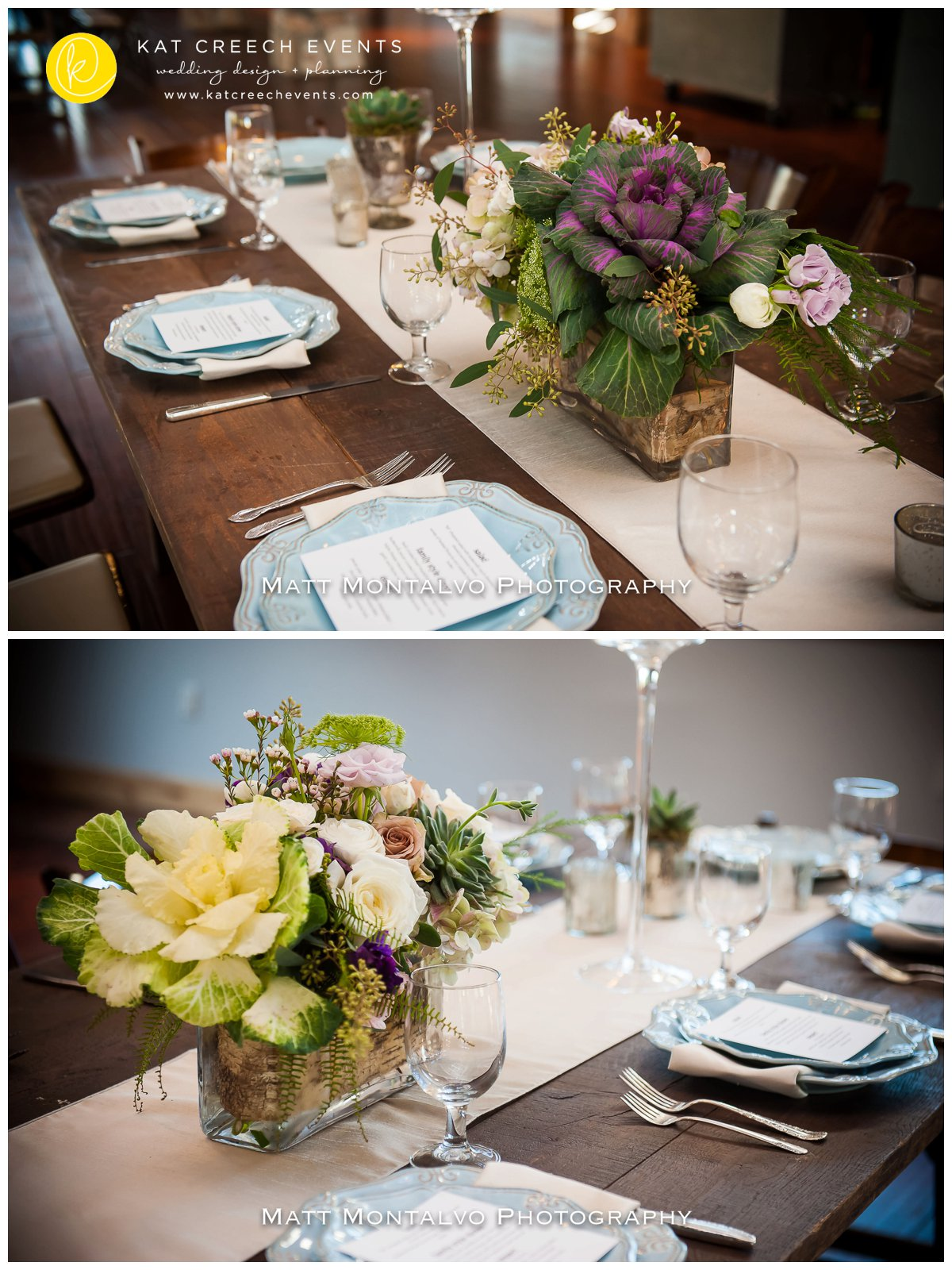 unique floral centerpiece | blue chargers | farm table |kat creech events | wedding stylist