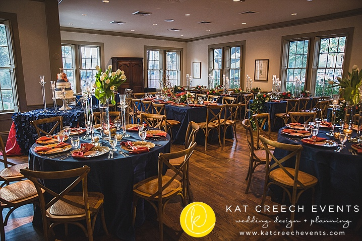 crystal candelabras | tulips | modern garden wedding | navy and coral wedding | cross-back chairs | Kat Creech Events