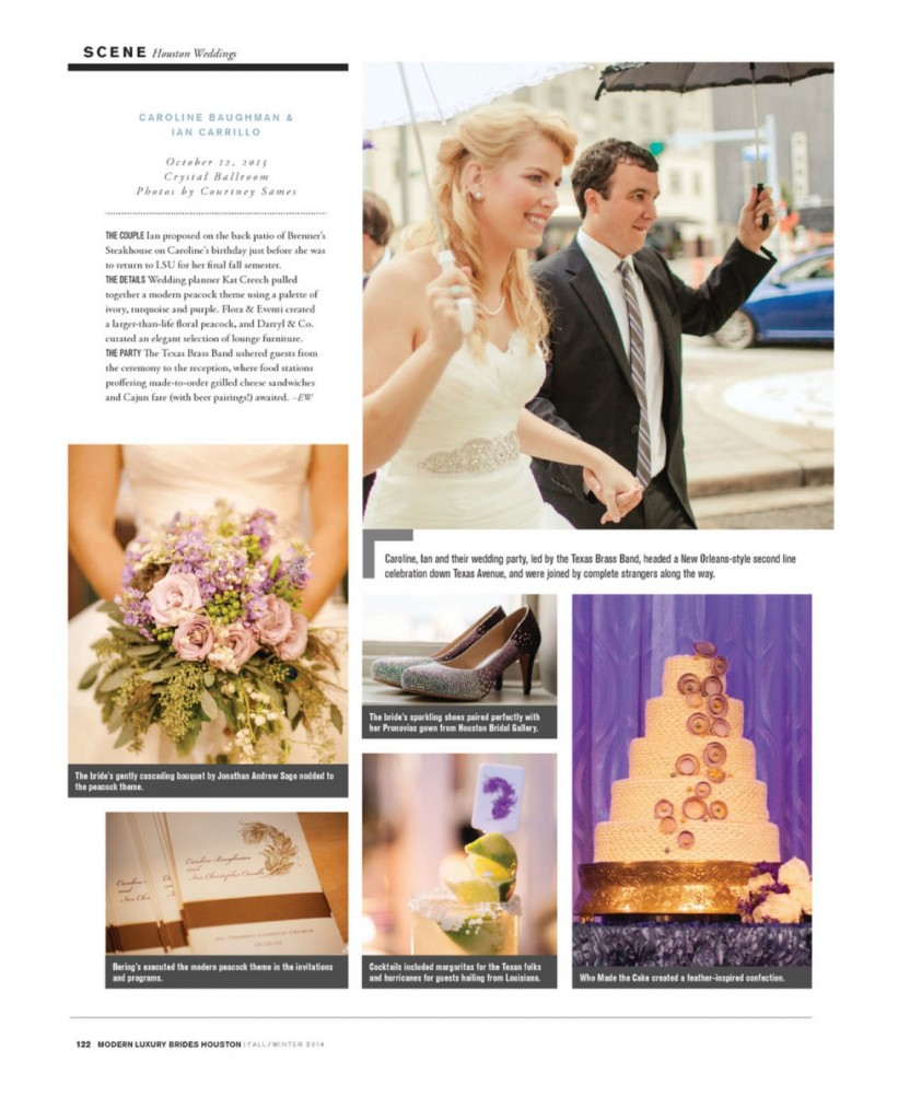 Caroline + Ian's modern peacock wedding at The Crystal Ballroom is featured in the latest edition of Modern Luxury Houston Brides Magazine.