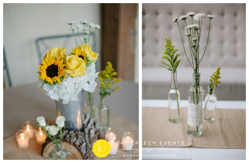 yellow and ivory centerpieces