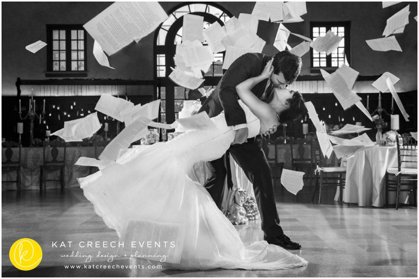 navy and ivory wedding at julia ides library