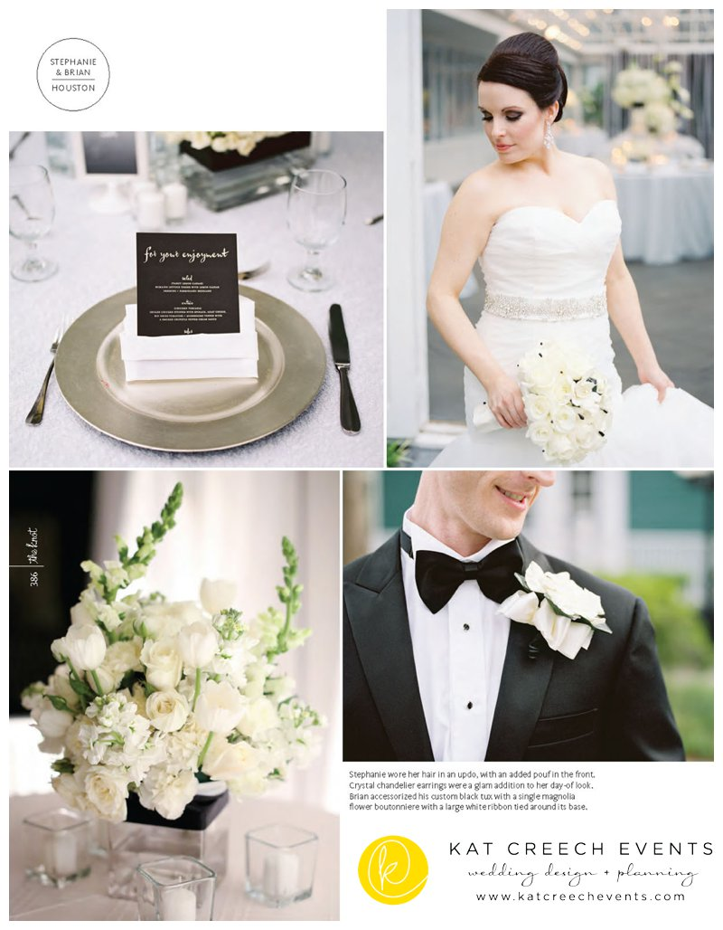 Stephaine + Brian's black and white modern wedding had the wonderful honor of being a part of The Knot Magazine featured wedding this summer.