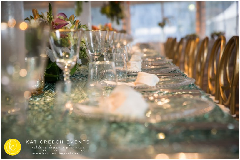 gold rimmed glasses | wedding stylist | gold infinity chairs