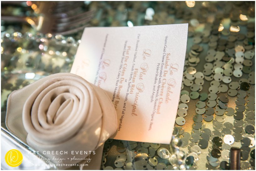 menu card | sequin linen | wedding details