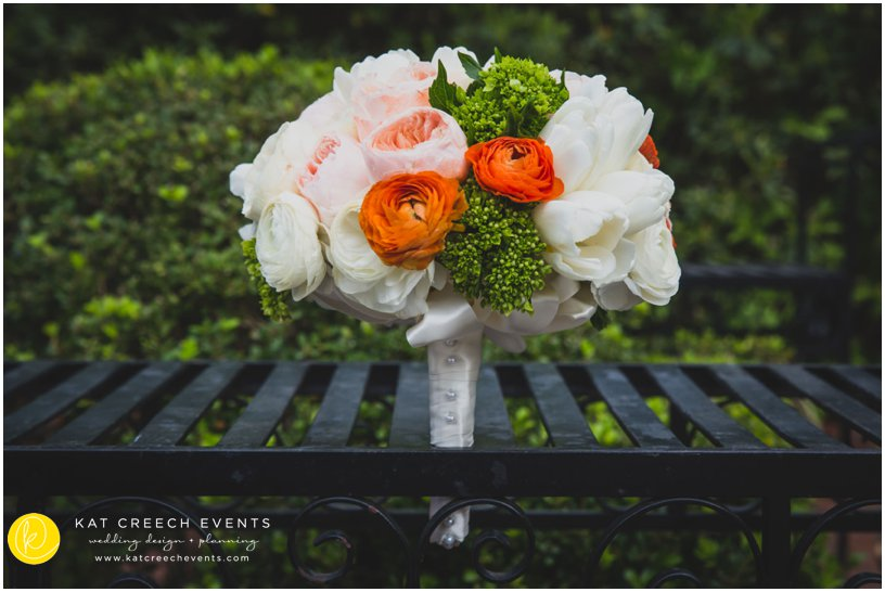 white and coral peony bouquet | wedding bouquet | wedding flowers | Kat Creech Events