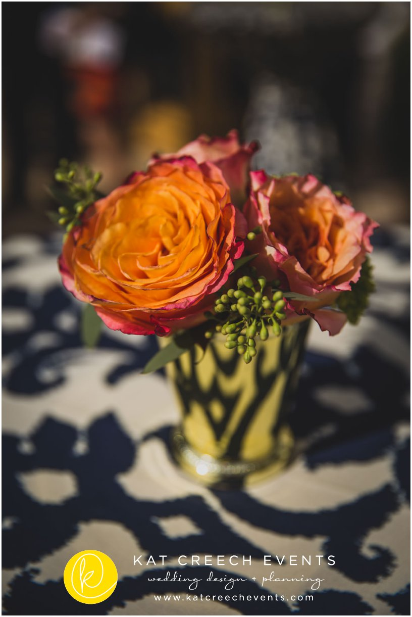 coral roses | iKat blue and ivory linen | wedding stylist | Kat Creech Events