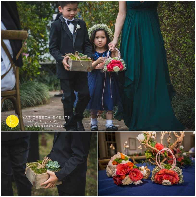 flower girl wedding style | flower purse | ring bearer | succulents | coral and navy wedding | Kat Creech Events